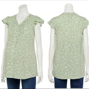 MATERNITY A:Glow Pleated Button Front Blouse